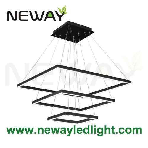 Large Square Contemporary Suspended Architectural Pendant