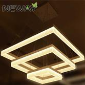 Modern Square LED Acrylic Pendant Light Hotel Hall Exhibition Lighting