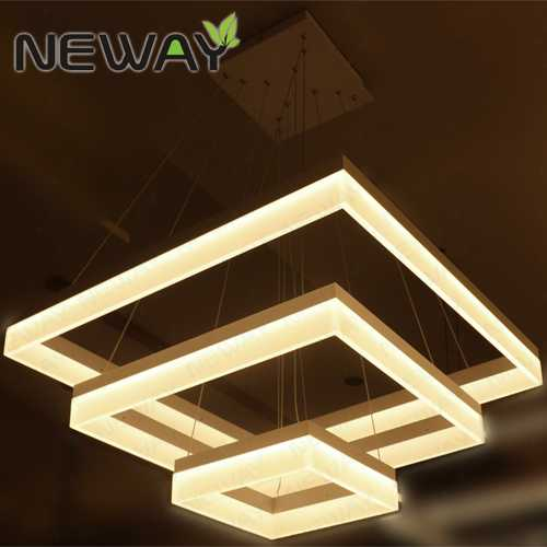Modern Square LED Acrylic Pendant Light Hotel Hall ...