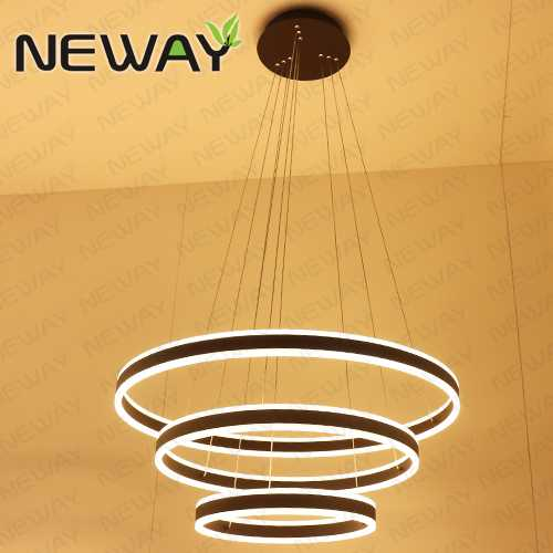 Direct indirect round circle led strip chandelier lights wholesale